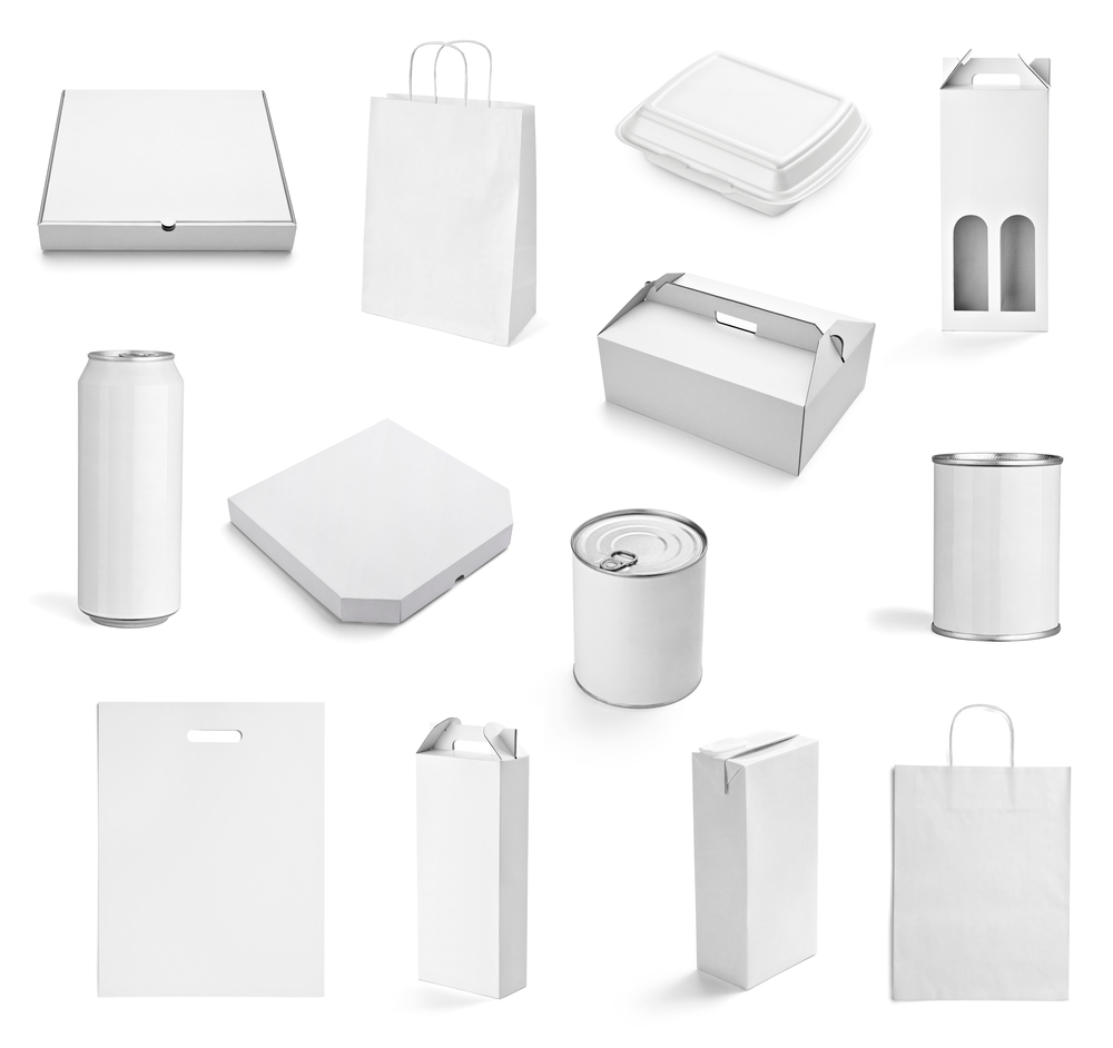 collection of  various white print templates on white background. each one is shot separately